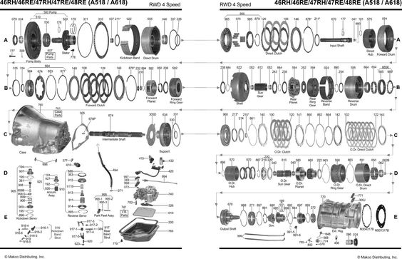 47re transmission diagram 4x4