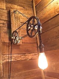 Pulley Light- Reclaimed Wood Edison Bulb Light- Steampunk ...