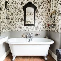 White bathrooms, Toile wallpaper and Bathroom on Pinterest