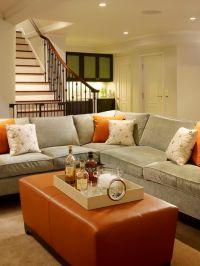 Cozy, chic blue gray tobacco basement living space design ...