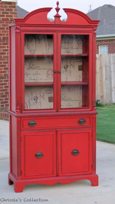 Painted hutch, Red and Backgrounds on Pinterest