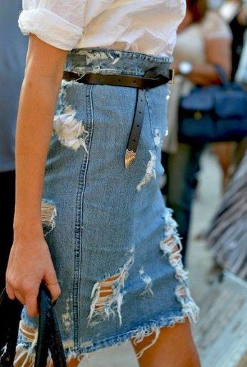 Idea para falda vaquera !Hay que renovar esas faldas¡: