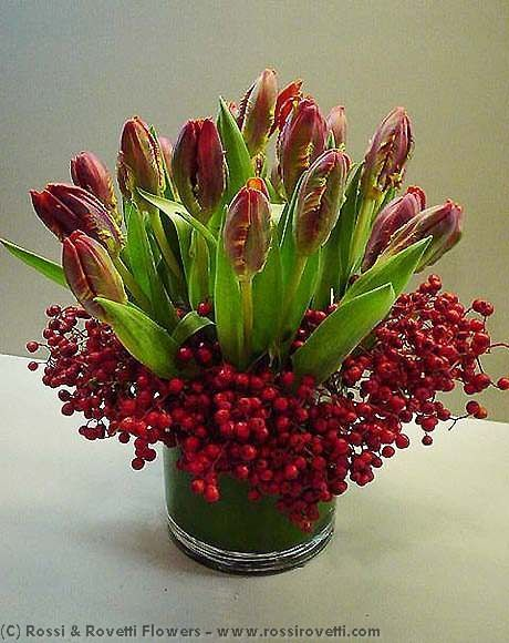 Tulips Flower Arrangement Red Parrot Tulips & Berries Flower Arrangement | Flower