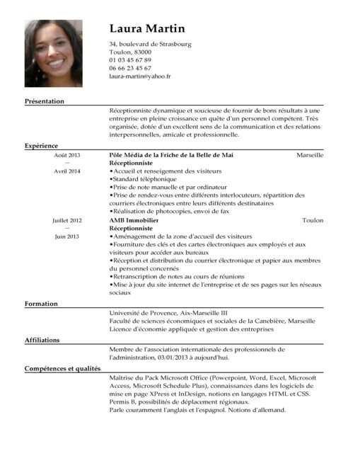 cv example receptionniste