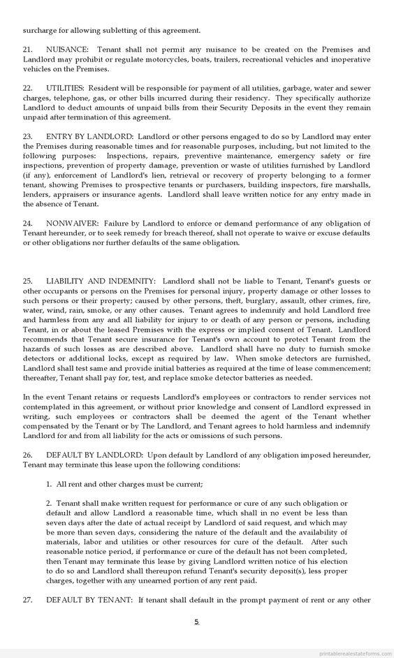 Doc#592799 Sample Printable Lease Agreement u2013 Printable Sample - printable lease agreement sample