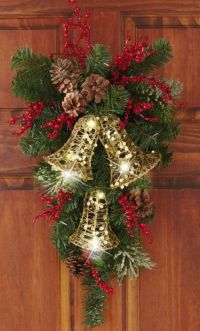 Holiday Bells Evergreen Swag Door Decor - Vertical ...