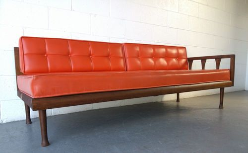 Retro Orange Vinyl Sofa Mid Century Modern Sofa Day Bed With Orange Vinyl Cushions