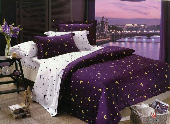 Purple celestial bedding