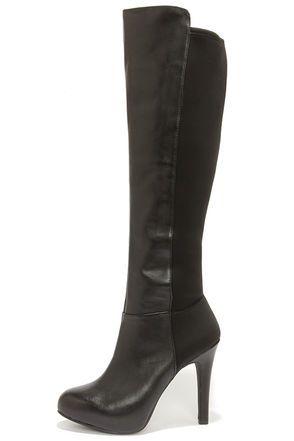 Jessica Simpson Avalona Black Leather Knee High Heel Boots