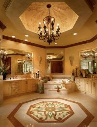 Luxury master bathroom with custom tile work, tray ...