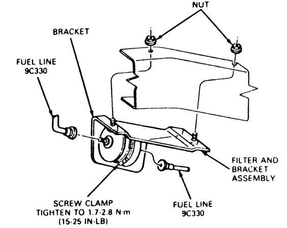 fuel filter location 1990 ford ranger