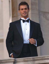 Black tuxedo jacket, black bow tie, white tuxedo shirt ...
