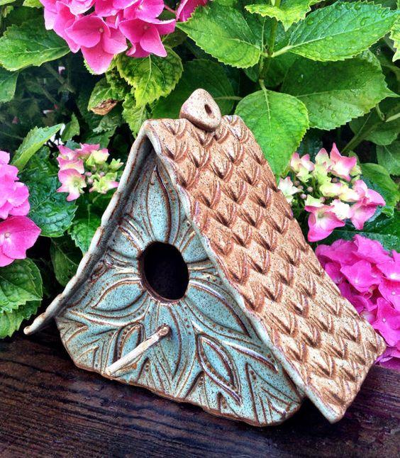 Ceramic Pottery Bird House Birdhouse Gardens Design And