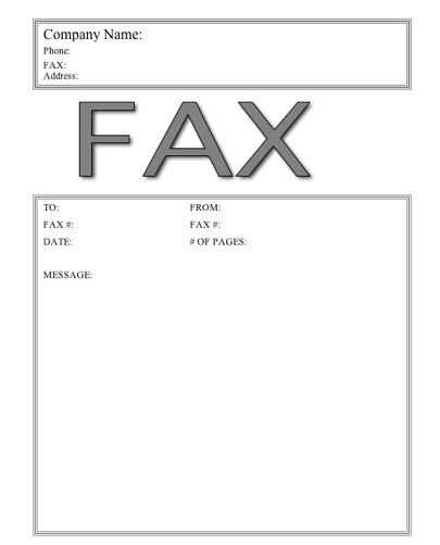 This basic printable fax cover sheet has the word Fax in large - fax cover sheets