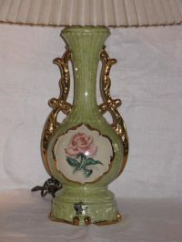 Vintage antique Deena China hand decorated green table ...