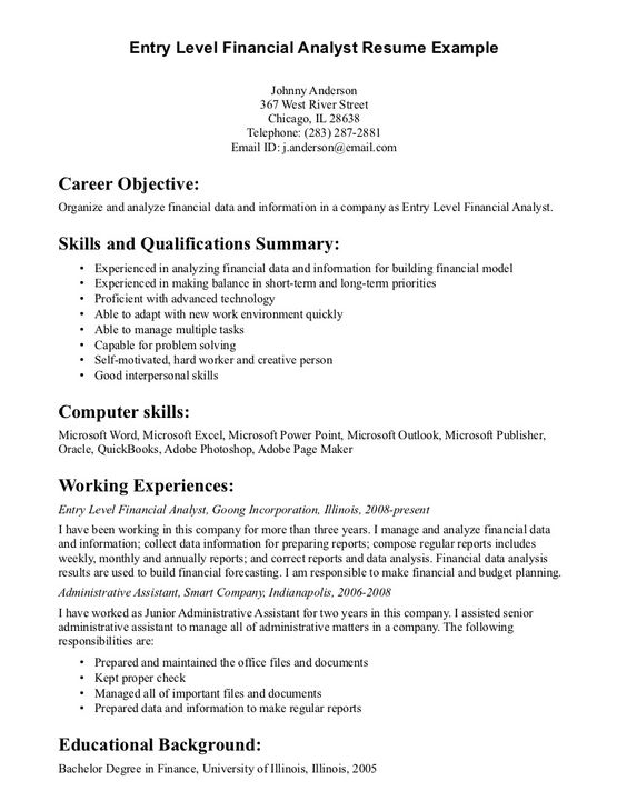 Entry Level Financial Analyst Resume Example | Jobs | Pinterest