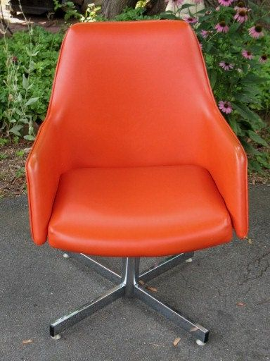 Retro Orange Vinyl Sofa Office Desk Chairs, Arm Chairs And Vinyls On Pinterest