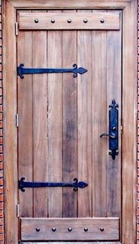 Rustic One Panel Single Entry Door with clavos and iron ...