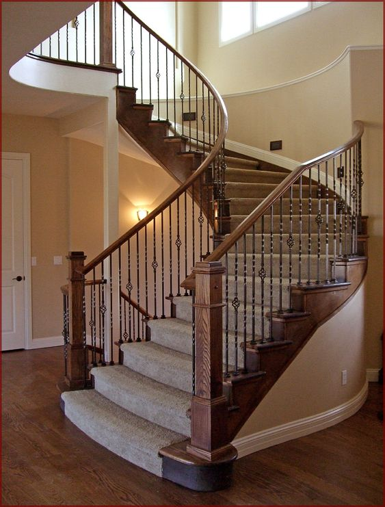 stair railings denver , iron balusters, curved handrail
