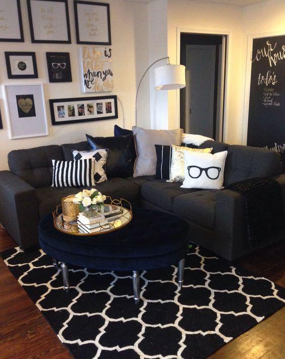 Homesense, Urban barn and Tufted ottoman on Pinterest - black white and gold living room ideas