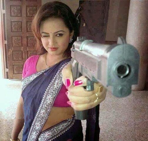 Santa Banta Cute Girl Wallpaper Indian Women With Gun Funny Photo Funny Guns And Photos