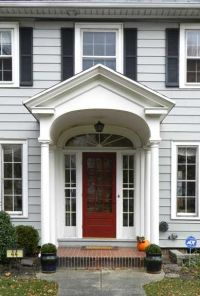 Colonial Revival front door - side lights, arched window ...