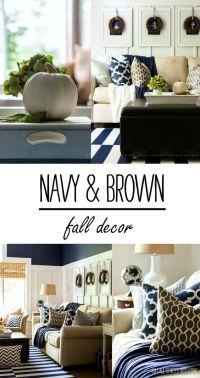 Navy Blue Brown Living Room