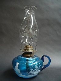 Mary Gregory style blue glass kerosene lamp - Lamps ...