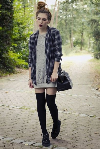 Creepers, over the knee socks and a plaid shirt - fun grunge inspired look x: