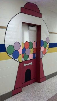 This year's classroom door. Would be cute with 100 gum ...