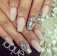 Laque Nail Bar | Nude Square Tip Acrylic Nails w ...