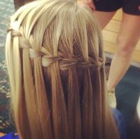 Waterfall braid with straight blonde hair | Hurr done by ...