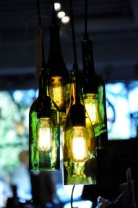 4- Light Chandelier Recycled Wine Bottle Pendant Lamp ...