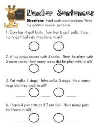 Writing addition number sentences worksheets - there's ...