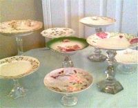 Vintage plates, Vintage cakes and Candlesticks on Pinterest