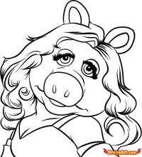 miss piggy curly hair - coloring page | Diva aka Miss ...