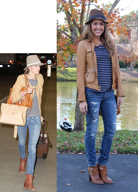 Basic Outfits Brown Jacket And Striped Tee On Pinterest