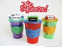 """""""NO SQUEEZE JUICE BOX HOLDER"""" prevents messy squirts from ..."""