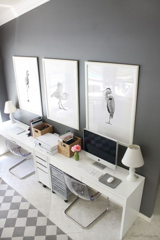 Gray and white Ikea home office for two: