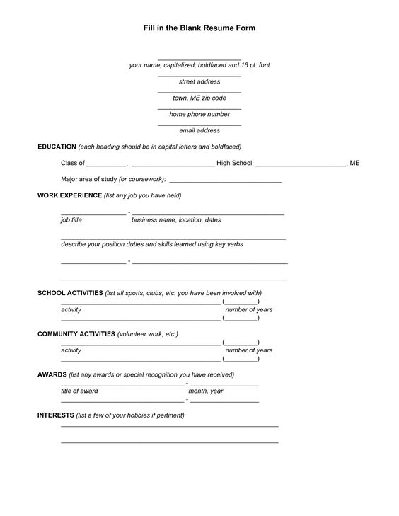 The Senior Resume For High School Students Wise Bread Blank Resume Template For High School Students Http
