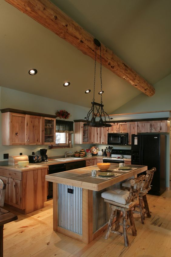 Corrugated Metal Kitchen Island Log Cabin Kitchen | Home Show | Pinterest | Corrugated