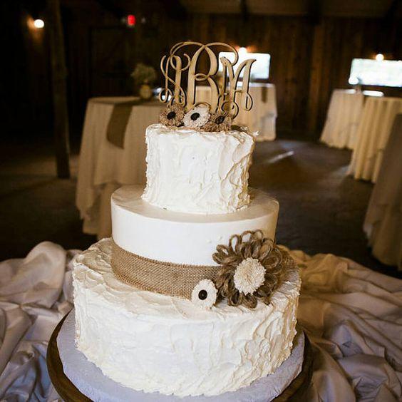 rustic monogram wedding cake toppers