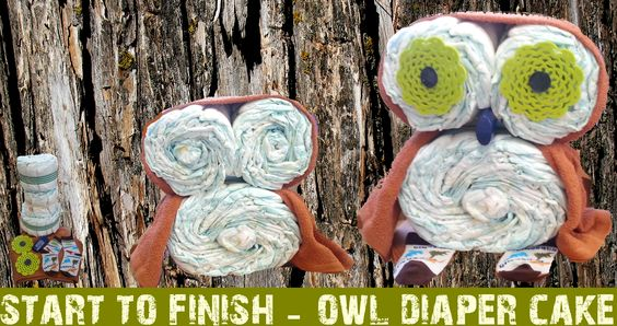 owl diaper cake centerpiece
