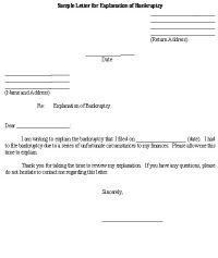 Sample Letter for Explanation of Bankruptcy template ...
