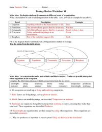 Six Levels of Ecology | Ecology Review Worksheet 1 answers ...