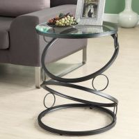 Modern Round End Table Black Metal Glass Side Accent Home ...