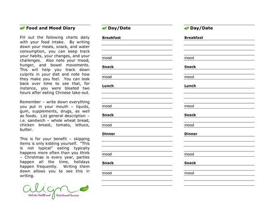 printable food diaries