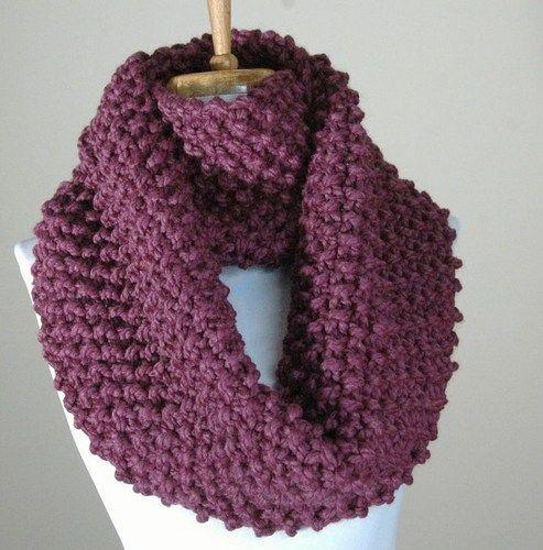 Chunky Knit Infinity Scarf in Purple Fig, Women's Winter