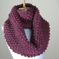 Chunky Knit Infinity Scarf in Purple Fig, Women's Winter