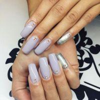 Lavender Square Tip Acrylic Nails w/ Silver Glitter ...